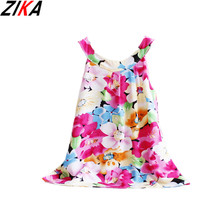 ZIKA Girls Dress 2017 New Summer Style Children Clothing Cotton Floral Cool Vest Dress Colorful Cheap Kids Clothes For Girls 1-3