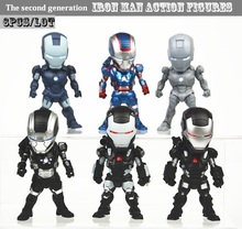 6pcs/set Iron Man LED Light Eye Function Iron Man Action Figure car Accessories Collectible Model Toy PVC 9cm Figure kids gift(China)