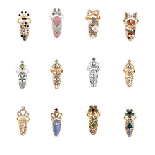 Newest Design Cute Rhinestone Bowknot Crown Pattern Art Crystal Finger Nail Rings For Women Gold Silver Color Jewelry Gifts