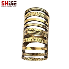 SHIJIE Vintage Hollow Bronze Long Rings for Women Korean Lovely Geometry Big Men's Ring Fashion Jewelry Anillos Bague Femme Gift