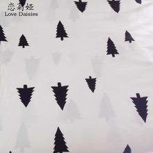 100% cotton width 235cm white with black pine twill cloth DIY for kids bedding cushions handwork patchwork fabric tissue textile