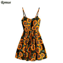 ROMWE Floral Womens Dresses Summer Multicolor Spaghetti Strap Sunflower Print Random Lace Up Back A Line Cami Dress