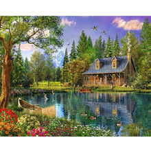 HOME BEAUTY 5d diamond embroidery coss-stitch kits lake cabin diamond mosaic painting paint pictures decor landscape craft AA945