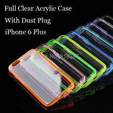 Colorful Soft Transparent TPU Full Clear Acrylic Case Cover Skin Shell for iPhone 6 6S Plus 5.5 inch With Dust Plug 10pcs/lot
