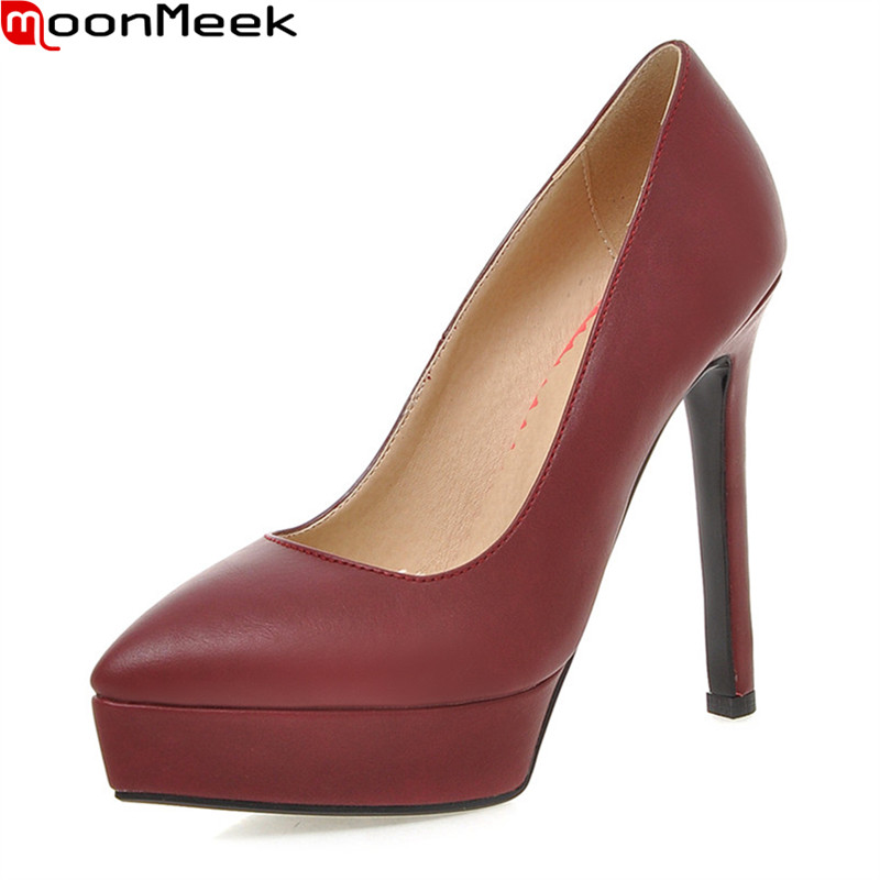 MoonMeek 2018 new female fashion platform pumps pointed toe thin heels slip on shallow extreme high heels dress woman shoes<br>