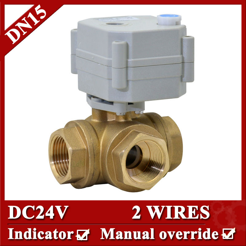 1/2 Electric ball valve 3 way horizontal type, DC24V Brass Motorized ball Valve with 2 control wires<br><br>Aliexpress