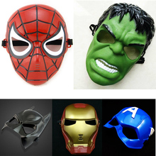 Full Head Mask Super hero Hulk/American captain/Iron Man/Spiderman/Batman Crazy Rubber Party Halloween Costume Mask Children toy(China)