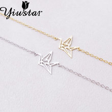 Yiustar New Fashion Hot Gold and Silver Origami Crane Bracelet for women B021(China)
