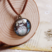 My Neighbour Totoro Pendant Necklace Anime Figure Glass Dome Pendant Leather Cord Necklaces Handmade Kids Gift Jewelry XL003(China)