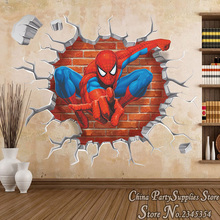 2016 Limited 3d Stereoscopic Spiderman Stickers Room Boy Decorated Bedroom Wall Sticker Removable Break Character Wallpaper