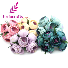 Lucia Crafts 6ps/lot Diameter 45mm Silk Artificial flower Bouquet Mini Flowers For Wedding Party Decoration 027010017