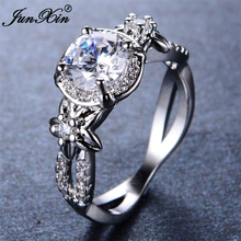 JUNXIN Luxury Men Women Big White Round Engagement Ring New Fashion Gold Filled Rings Christmas Gifts For Best Friends