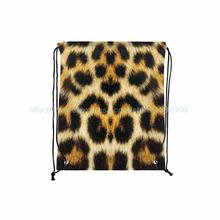 Pack Of 4 Personalised Tiger Fur Print Custom Outdoor Beach Gym Swimming Clothing Shoes Towel Storage Bag Drawstring Backpack