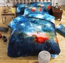 XINLANISNOW 3d Galaxy Duvet Cover Set Single double Twin/Queen 2pcs/3pcs/4pcs bedding sets Universe Outer Space Themed Bed Linen