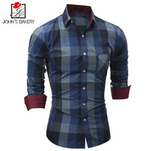 New Fashion Brand 2017 Men Shirt Big Grid Dress Shirt Long Sleeve Slim Fit Camisa Masculina Casual Male Hawaiian Shirts M-XXL AF