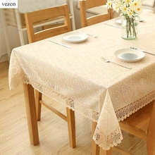 vezon New Hot Luxury Full Lace Floral Tablecloth Elegant Beige Organza Lace Table Cloth Overlays Home Towel Decorative Textiles(China)