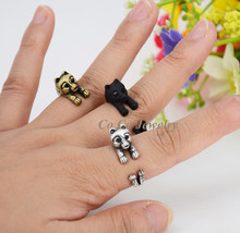 New Style 3Colors Punk Brass Knuckle Pomeranian Puppy Dog Anel Ring Boho Chic Animal Anillos Couple Rings For Women jewerly 2017