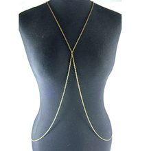 Retro Design Beach Fashion Simple Design Body Chain Long Gold Waist Chain Personality Women Bikini Harness Jewelry