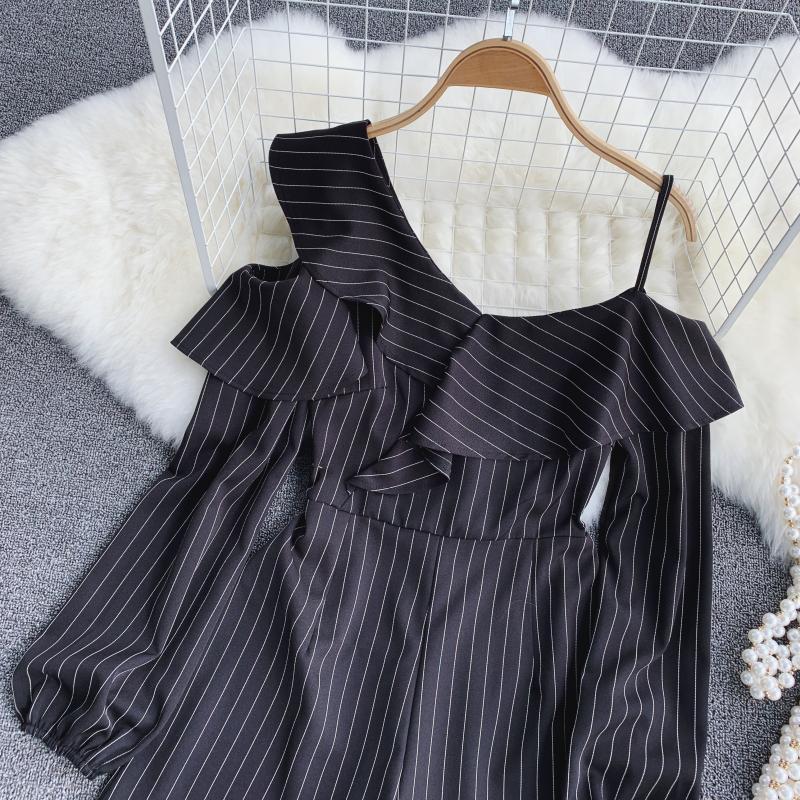 Spring Summer Jumpsuit for Woman Women's 2019 New Heart Machine Lotus Edge V-neck Long Sleeve High-waist Stripe Short Overalls 19