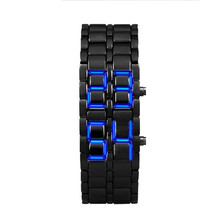 2x Lava Style Iron Samurai Black Bracelet LED Japanese Inspired Watch RED / BLUE Montre Homme Clock Stainless(China)