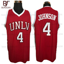 BONJEAN Cheap 4# Larry Johnson UNLV 1989 Jersey Running Rebels Throwback Shirt Stitched Red Mens Basketball Jersey(China)