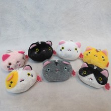 7pcs/lot Anime Kutusita Nyanko cat Plush Pendant Toy Cartoon Kawaii mini Boots cat Doll Soft Stuffed pendant Toys Gifts