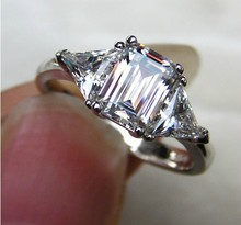 High Quality 3CT Three Stone Emerald Cut Synthetic Diamonds Engagement Ring Genuine Sterling silver 3 Stone Ring