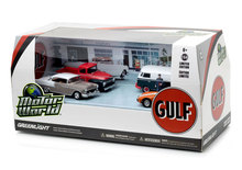 Green Light 1:64 Motor World - Gulf Oil Vintage Gas Station boutique alloy car toys for children Model original box freeshipping(China)