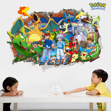 Pokemon Go Wall Stickers Pokemon Cartoon Removable  PVC Children's Room Painting Waterproof  Japan Style Home Decor Wall Papers