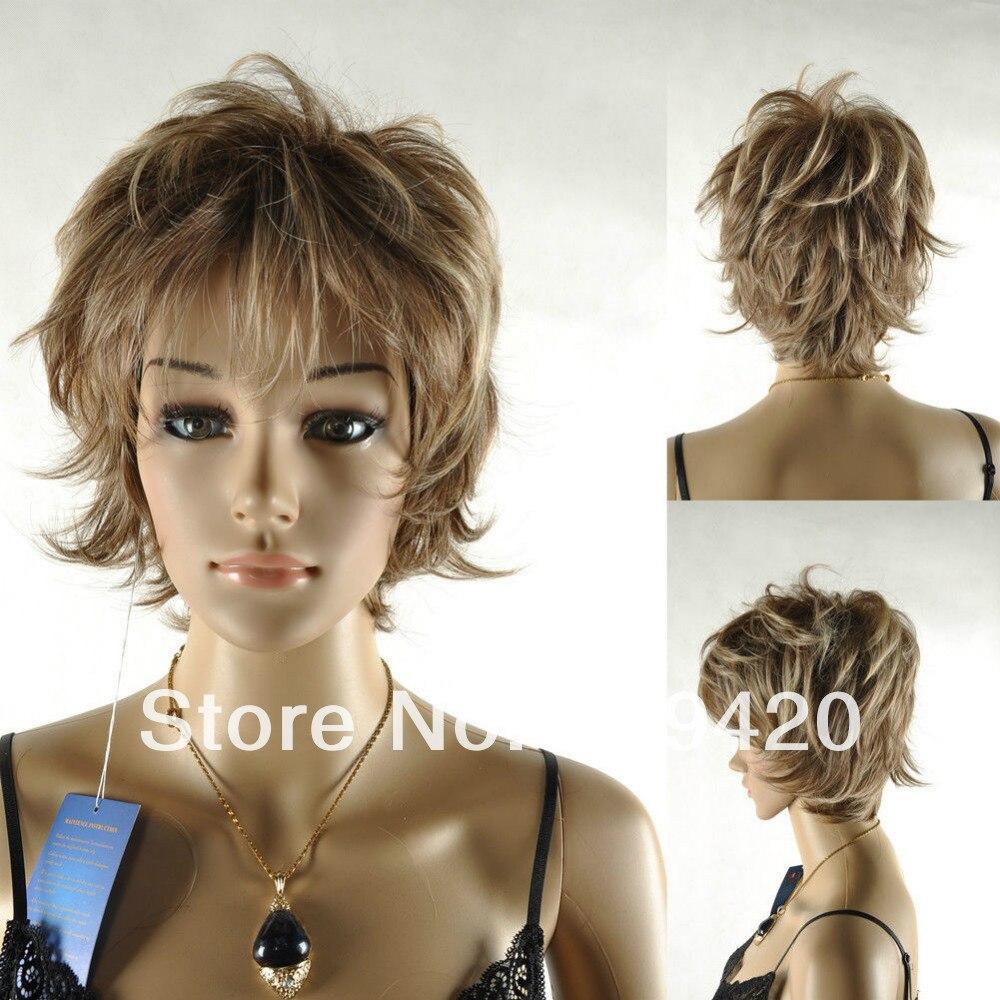 Free Shipping&gt;&gt;&gt;Fluffy light brown short wavy  unisex man cool punk rock cosplay full wig<br><br>Aliexpress