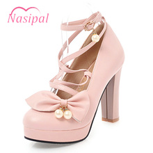 Buy Nasipal Brand Shoes Woman Sweet Elegant Gladiator Cross-tied Pumps Shoes Thick High Heel Round Toe Lacing Wedding Shoes C293 for $22.41 in AliExpress store