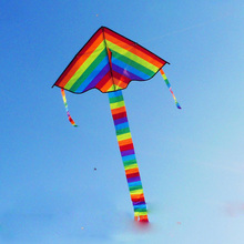 High Quality Triangle Rainbow Kite Children 1Pcs Outdoor Fun Sports Nylon Ripstops Kites For Kids Without Flying Cable 95*190 cm