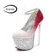 WEIQIAONA Sexy goddess banquet nightclub fashion high heels sequins diamond buckle single shoes Rainbow color Stage Party shoes(China)