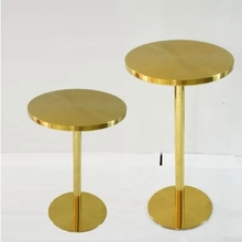 Stainless steel gold-plated titanium high round table bar small home simple modern round table(China)