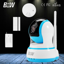 BW HD 720P Onvif IP Camera Wi-Fi Monitor Wireless Security PTZ Camera with Infrared Motion & Door Sensor Smoke Detector