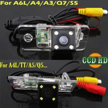 ccd HD 4 LEDS Car rear view parking Camera for Audi A8 A6 A4 A3 Q7 S5 S6 S8 RS4 RS6 A4L/Q5/A5/TT/TTS backup wire wireless
