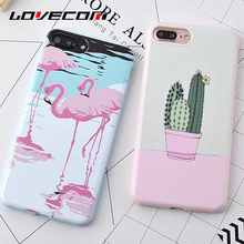 LOVECOM For iPhone 7 7 Plus 6 6S Plus Case Soft TPU Anti Shock Mobile Phone Cases Cactus Flamingo Candy Color Back Cover YC2008