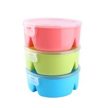 Candy Color Round Microwave Bento Box Picnic Lunch Grid Box Container Food Storage Box Organizer Colors Randomly