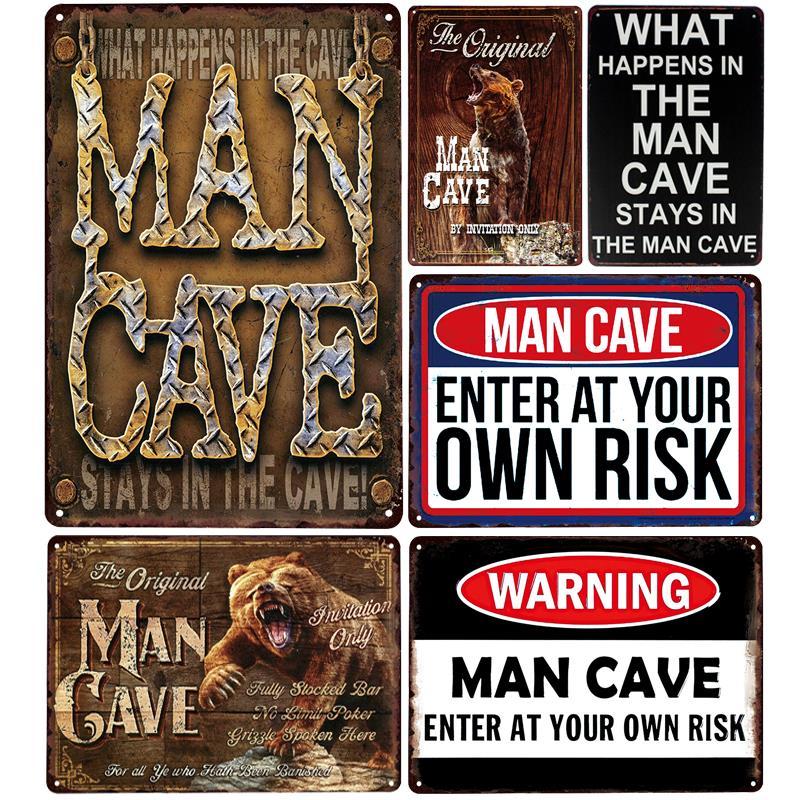 """THE ORIGINAL MANCAVE"" Vintage Art Sign Metal Poster"