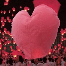 10pcs Heart Shape Chinese Lanterns Paper Sky Fire Lamp For Wish Wedding Party(China)