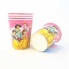 10pcs Princess Cartoon Paper Cups Disposable Tableware Wedding Birthday Party Table Decorations Disposable Cups(China)