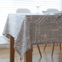 Linen Table Cloth Black Letter Printed Rectangular Newspaper Table Cloth for Home Wedding Hotel Use Hot Sale