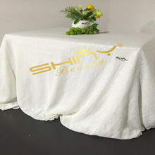 White Sequin Tablecloth Rectangle Sequin Table Linens for Wedding/Christmas Party Decoration-90X132inch-a(China)