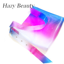 Hazy beauty PVC shinning women big size fashion tote good quality girls shoulder bag bling bling simple design neon color A336(China)