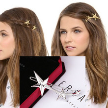 Free shipping! Europe foreign trade original round triangle barrettes hair ornaments sweet five pointed star hairpin jewelry(China)