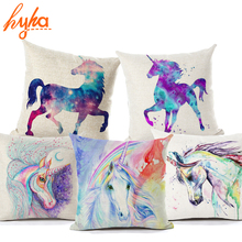 Hyha Unicorn Licorne Cushion Cover Cotton Linen Watercolor Painting Unicorn Home Deocrative Pillow Cover for Sofa Cojines(China)