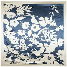 90cm*90cm European Black and White Color Flower Printed Brand style women silk satin large square scarf