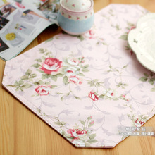 Fashion Rose Cloth Western Placemat Heat Insulation Plate Pads Short Waterproof Easy Care Dining Table Mat Variety Color Options