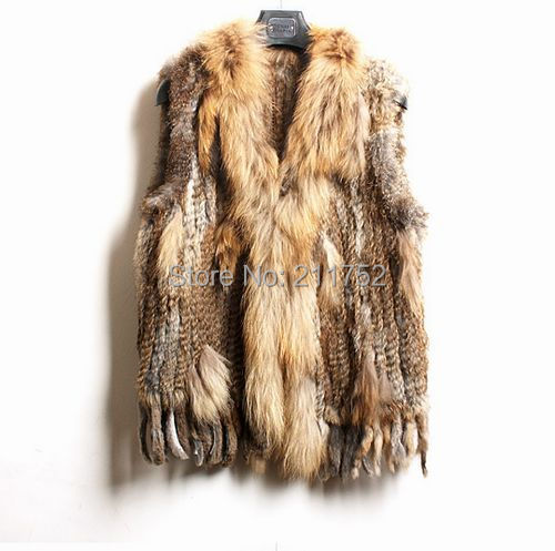 high quality Hot Sale Retail wholesale Raccoon Dog Fur Collar Trim Women Knitted Natural Rabbit Fur