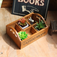 portable 6 slots retro wooden box potted plant for jewelry case desktop organizer Remote control holder cosmetics storage box